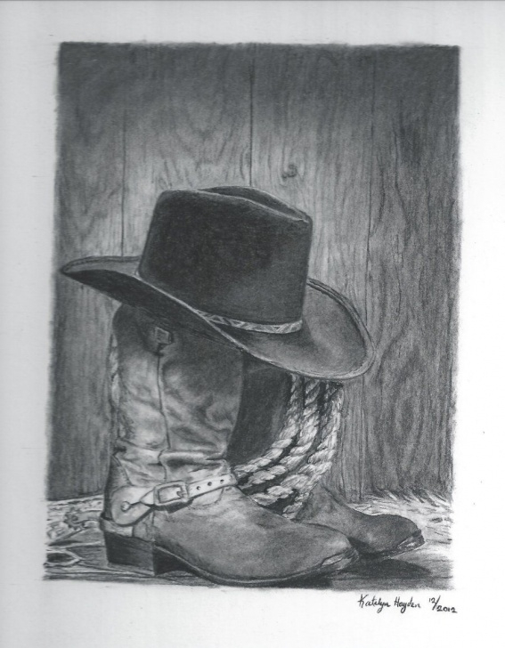 Inspiring Cowboy Pencil Drawings Easy Free Cowboy Pencil Art | Cowboy Boots And Hat By Sunbird18 Photos