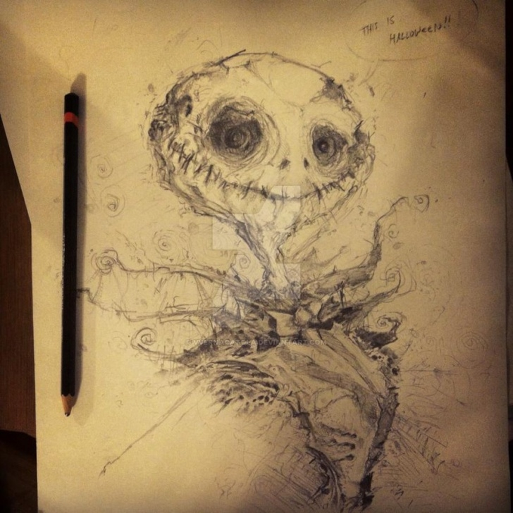 Inspiring Creepy Pencil Drawings Free Jack Skellington - Pencil Sketch By Vvernacatola On Deviantart Pics
