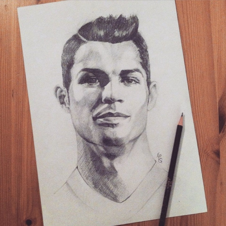 Inspiring Cristiano Ronaldo Pencil Drawing Simple Pencil. Portrait Cristiano Ronaldo. | My Painting & Illustrations In Images