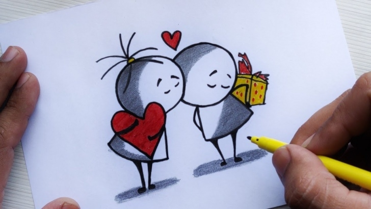 Inspiring Cute Cartoon Couple Sketches Free How To Draw Cute Love Couple Drawing Step By Step | Friendship Day Drawing  | Cartoon Drawing Photos