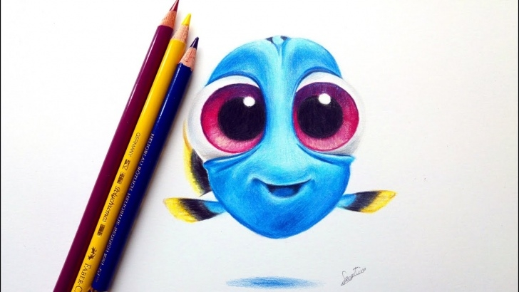 Inspiring Disney Colored Pencil Drawings Courses Drawing Baby Dory From Disney's 'finding Dory'! | Leontine Van Vliet Pictures