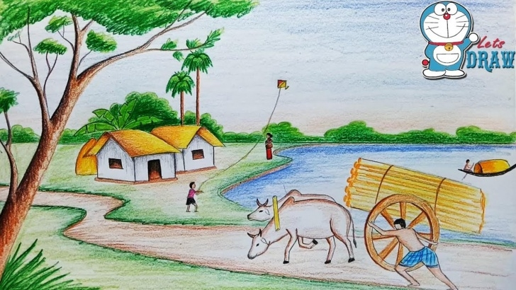 Inspiring Drawing Images Village Ideas How To Draw Village Scenery / Landscape Step By Step Photo