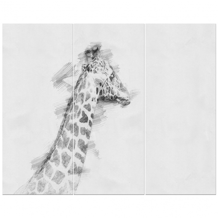 Inspiring Giraffe Pencil Sketch Tutorial 'giraffe In Black And White Pencil Sketch' Drawing Print Multi-Piece Image  On Wrapped Canvas Images