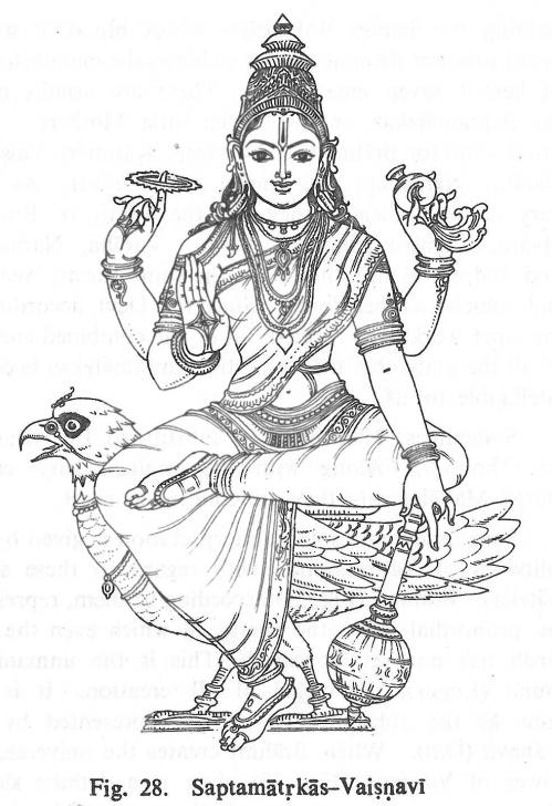 Inspiring Goddess Lakshmi Pencil Sketches Free Saptamatrkas-Vaisnavi | Hindu Gods Coloring Book | Hindu Art Picture