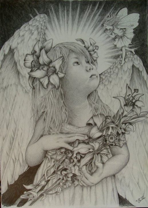 Inspiring Guardian Angel Pencil Drawings Free Guardian Angel Drawings | Microsoft Windows Photo Viewer 6.1 Picture