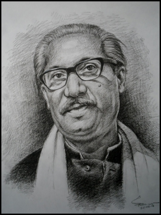 Inspiring Human Pencil Drawing Easy The Father Of Nation Of Bangladesh | Portraits | Human Face Drawing Photo