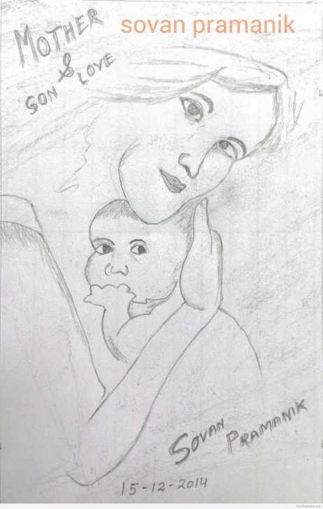 Inspiring Mother And Son Pencil Drawing Simple Pencil Sketch Of Love In Mother And Son | Desipainters Images