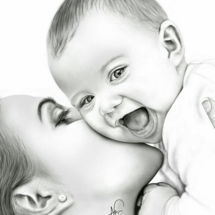 Inspiring Mother And Son Pencil Drawing Tutorial Dope Artz On In 2019 | Liked | Baby Drawing, Mother, Baby Paintings Photos