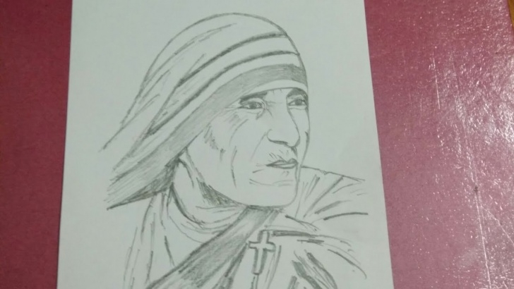 Inspiring Mother Teresa Pencil Sketch Tutorial Drawing Mother Teresa | View In Full Screen For Better Result. Pics