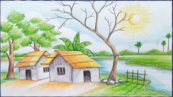 Inspiring Nature Drawing With Pencil Colour Ideas How To Draw A Village Scenery Step By Step / Landscape Drawing Image