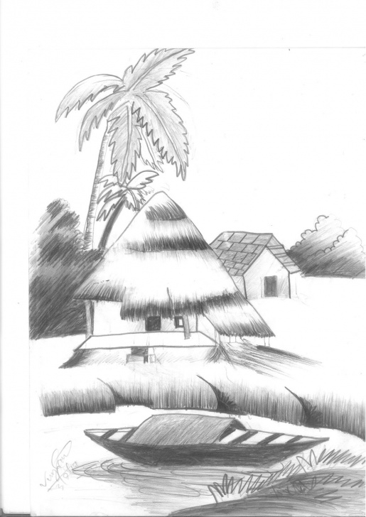 Inspiring Nature Pencil Art Lessons Village Nature (Pencil Sketch) Photo