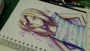 """Inspiring Pen And Colored Pencil Drawings Tutorials """"the Crayola Challenge"""" Ballpoint Pen/colored Pencil Sketch, Oc Piper Pic"""