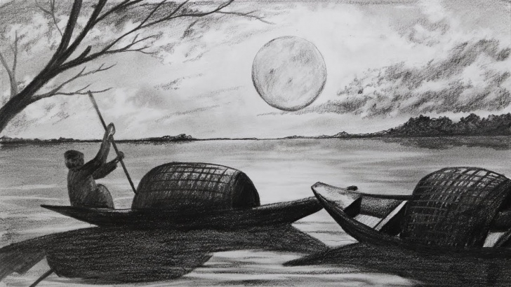 Inspiring Pencil Drawing Of Night Scene Courses How To Draw Scenery Of Moonlight Night Scene With Pencil Sketch Step By  Step (Easy Drawing Video) Picture