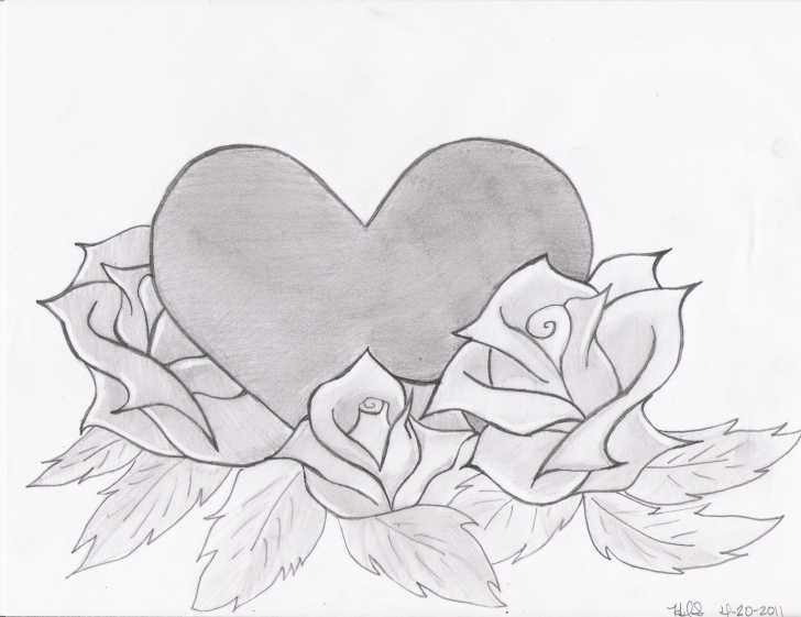 Inspiring Pencil Drawings Of Roses And Hearts Techniques Drawings Of Roses And Hearts | Heart And Roses Drawing Image