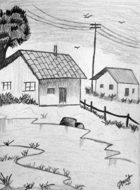 Inspiring Pencil Shading Scenery Easy Easy Pencil Shading Scenery For Kids | Drawing Work Photos