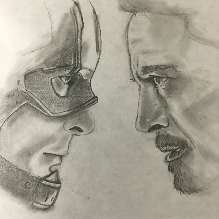 Inspiring Pencil Sketch Of Captain America Tutorials Captain America: Civil War (Tony Vs Steve) #teamcap Drawing I Did Images
