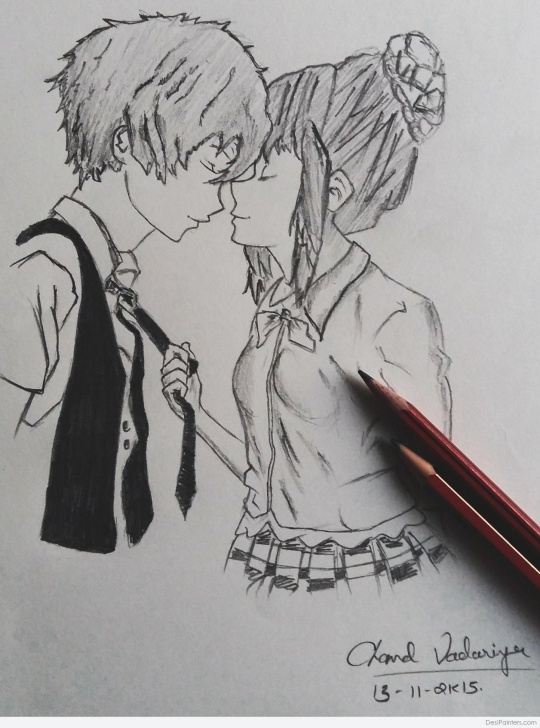 Inspiring Pencil Sketch Of Kissing Couple Step by Step Romantic Kiss Sketch At Paintingvalley | Explore Collection Of Pic