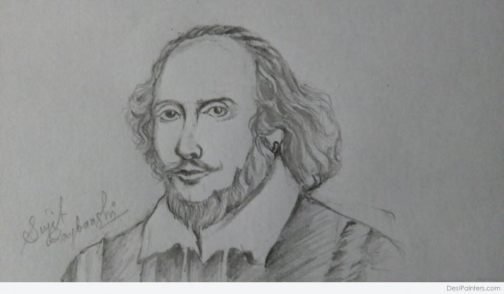 Inspiring Pencil Sketch Of William Shakespeare Courses Classic Pencil Sketch Of William Shakespeare | Desipainters Pics