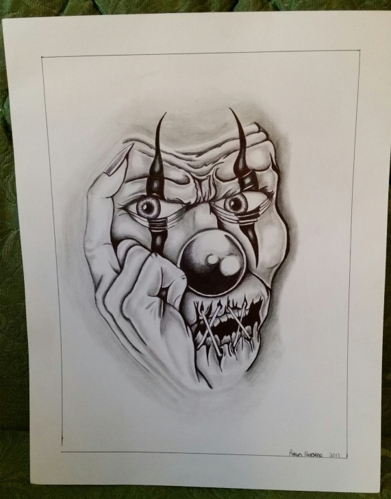 Inspiring Scary Pencil Drawings Simple Original Colour Pencil Drawing Of Scary Clown Pics