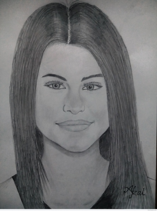 Inspiring Selena Gomez Pencil Sketch Tutorials Pencil Sketch Of Selena Gomez | Desipainters Images