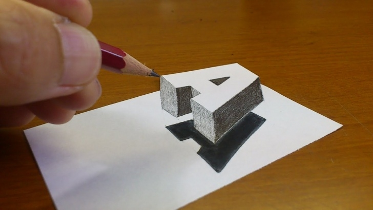 "Inspiring Simple 3D Drawings On Paper With Pencil Free Very Easy!! How To Drawing 3D Floating Letter ""a"" #2 - Anamorphic Illusion  - 3D Trick Art On Paper Image"