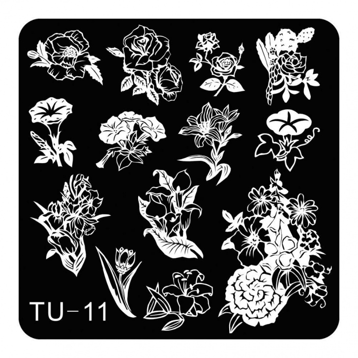 Inspiring Stencil Art Flowers Easy Lily Peony Flowers Theme Nail Art Stamping Template Stencil Fashion Lady  Metal Stamping Plates Nails Diy Tool Tu-011 Picture