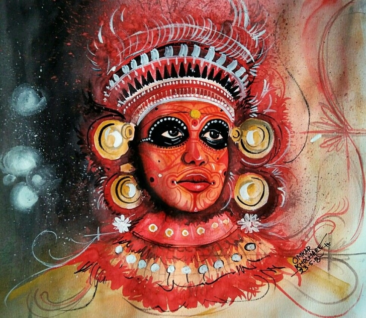 Inspiring Theyyam Pencil Drawing Tutorials Theyyam #theyyam #watercolor #southindia #kerala #classical Pic