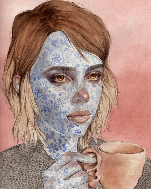 Inspiring Watercolour And Pencil Ideas Porcelain, Kari Lilt, Watercolour And Pencil On A4 Paper : Art Picture