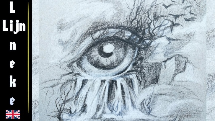 Inspiring Waterfall Pencil Sketch Ideas Fantasy Landscape Pencil Drawing And Drawing A Surrealistic Eye Images