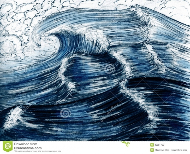 Inspiring Wave Pencil Drawing Lessons Sea Waves, Hand Drawn Stock Illustration. Illustration Of Wavy Images
