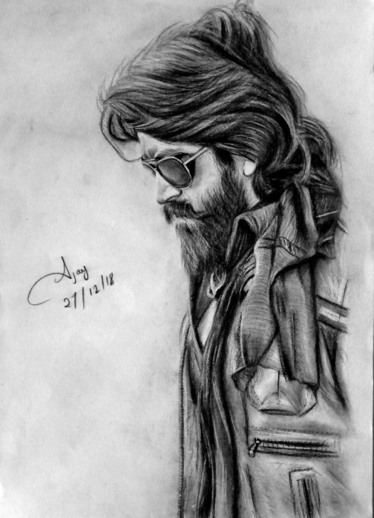 Inspiring Yash Pencil Sketch Free Kgf Chapter -1 Rocking Star Yash Images