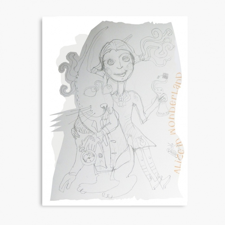 Interesting Alice In Wonderland Pencil Drawings Courses Alice In Wonderland - Alice And The White Rabbit (Original Pencil Drawing  By Alicecci) | Metal Print Images