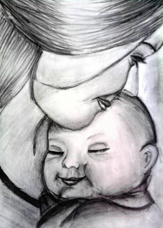 Interesting Baby Pencil Sketch Lessons Mother And Baby- Pencil Sketch By Sangeeta1995 On Deviantart Photo