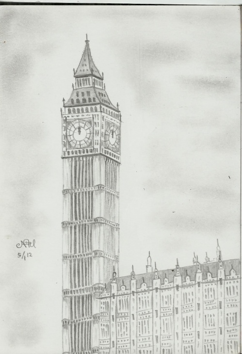 Interesting Big Ben Pencil Drawing for Beginners Big Ben #pencil #sketch | My Masterpiece | Big Ben, Drawings, Big Image