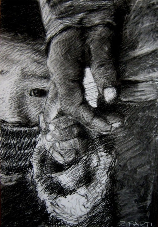 Interesting Black Charcoal Drawings Easy Original Charcoal Drawing ''fear'' Drawings / Sketch, Illustration Image