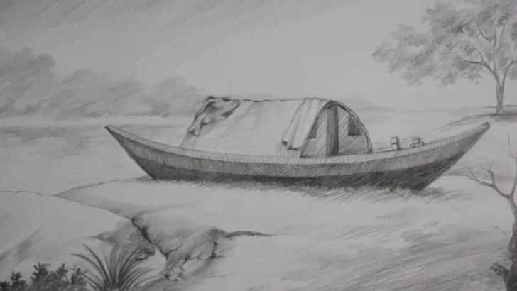 Interesting Boat Pencil Drawing Tutorial Pencil Shading Tutorial | How To Draw A Boat & A Riverside Landscape Image