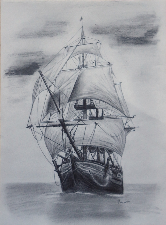 Interesting Boat Pencil Sketch Tutorials Old Tall Ship, Sail Ship Sketch. Original Art, Graphite Pencil Images