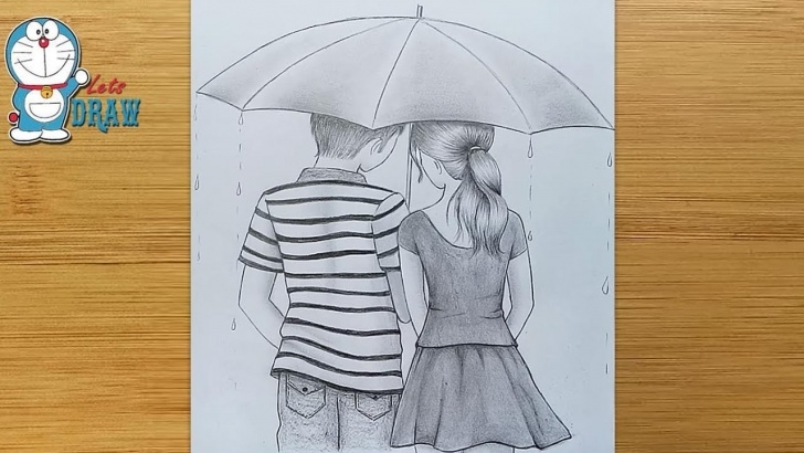 Interesting Boy And Girl Image Love In Rain Pencil Ideas How To Draw Couple With Umbrella - Step By Step || Boy & Girl Pencil Sketch Pictures
