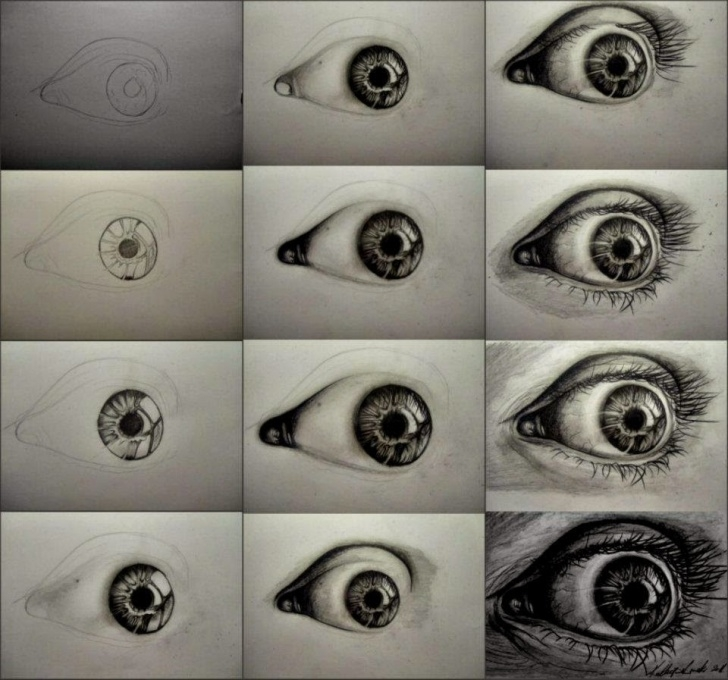Interesting Charcoal Drawing Step By Step Tutorial Steps To Draw A Realistic Eye With Charcoal - Learn To Draw And Paint Pic