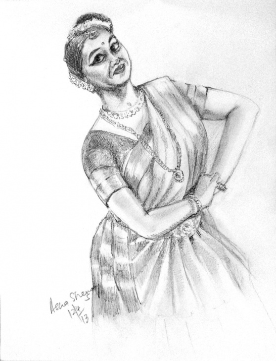 Interesting Classical Dance Pencil Drawing Courses Original Gift Art Black And White Art Mohiniattamwall Decor Pencil Pic