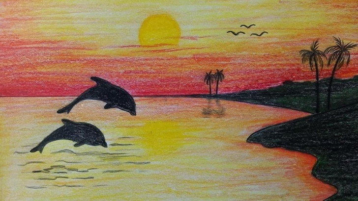 Interesting Colour Shading Drawing Of Scenery Easy How To Draw Scenery / Scenery Of Sunset Step By Step (Very Easy Picture