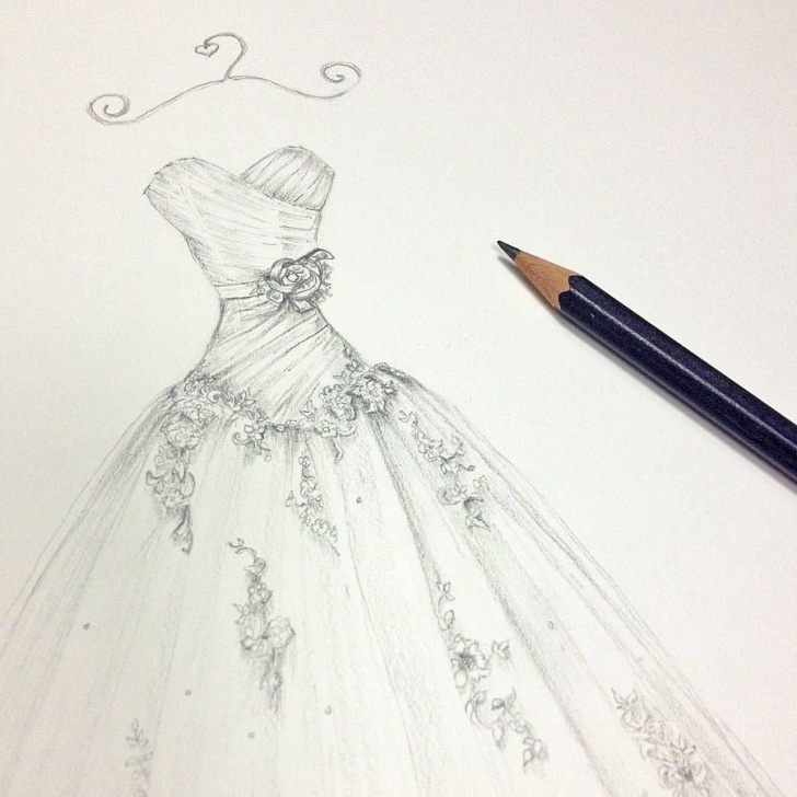 Interesting Dress Pencil Drawing Tutorial | Fashion Sketches In 2019 | Wedding Dress Sketches, Dress Photos