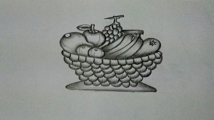 Interesting Fruit Basket Pencil Shading for Beginners How To Draw A Fruit Basket :step By Step Picture
