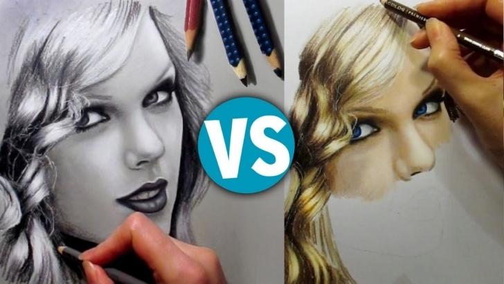 Interesting Graphite And Colored Pencil Drawing Tutorials Drawing Taylor Swift Graphite & Colored Pencils - Speed Draw | Jasmina Susak Image