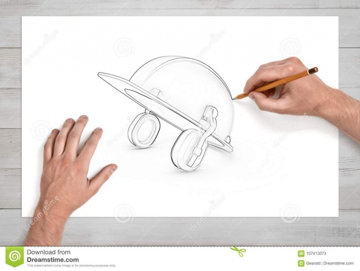 Interesting Hard Pencil Sketch Lessons Two Male Hands Draw A Pencil Sketch Of An Industrial Hard Hat With Photos