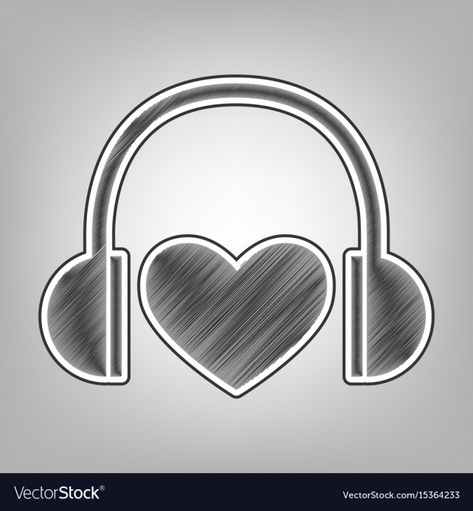 Interesting Heart Pencil Sketch for Beginners Headphones With Heart Pencil Sketch Photo