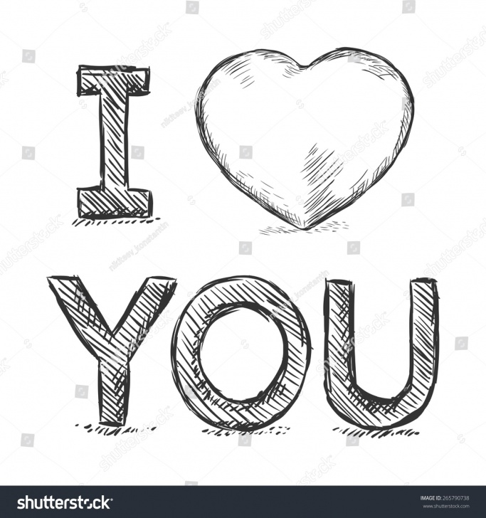 Interesting I Love You Pencil Drawing for Beginners Vector Pencil Sketch Illustration Love You Stock Vector (Royalty Pic