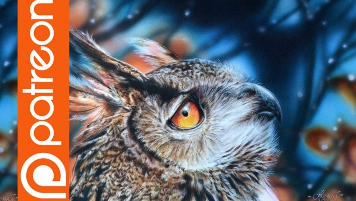 Interesting Lachri Fine Art Colored Pencil Tutorials Patreon - Eagle Owl Colored Pencil Lesson - Lachri Fine Art Image