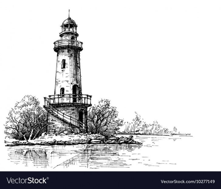 Interesting Lighthouse Pencil Drawing for Beginners Lighthouse Pencil Drawing Etch Style Photo