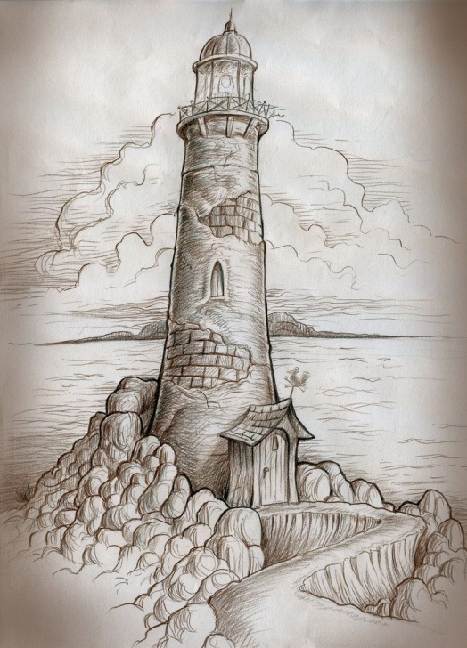 Interesting Lighthouse Pencil Drawing Free Colored Pencil On Sketchbook Paper. | Eyes In 2019 | Lighthouse Image